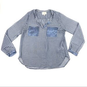 Skies Are Blue Sheer Blue Check Flowy Blouse Large